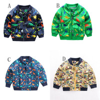 Wholesale boys dinosaur jacket for sale - Group buy Children boys dinosaur Coats cartoon print Jackets Baby Clothing Tops kids Cardigan Outwear C4586