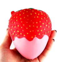 Wholesale strawberries plants resale online - 11 cm Strawberry Scented funny slime toys anti stress Squishy Slow Rising Squeeze Toys Jumbo Collection