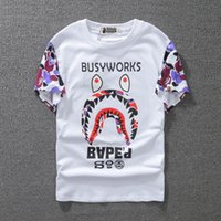 Wholesale mens patterned tees - Summer Shorts Designer T Shirt for Male Wear Wave Shark Mouth Pattern Mens Clothing Tops Tee Short Sleeves Casual Tops