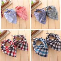 Wholesale Small Bibs - Baby Bandana Bibs cute The new bandage wild child baby bibs small square boys and girls double side yarn plaid scarf Babador