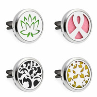 Wholesale Lotus Crystal Flower - New Lotus Flower Air Freshener 30mm Aromatherapy Essential Oil Diffuser Locket Vent Clip with Refill Pads color randomly
