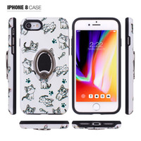 Wholesale rose pattern wallets resale online - Printing Pattern Armor Hybrid Case for iphone X plus plus Rotating Ring Magnetic Card Holder Bracket Phone Case