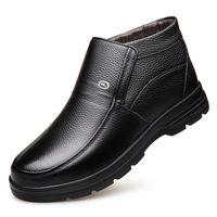 sapatas de trabalho do deslizamento do couro dos homens venda por atacado-Quente botas de couro genuíno Mens Sapatos de Inverno Botas de Neve Mens Sapatos de Trabalho Moda Calçados Tornozelo Ankle Boots Ao Ar Livre Sapatos Casuais para homens