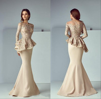 Wholesale peplum dress resale online - 2020 Champagne Lace Peplum Evening Formal Wear Dresses Sheer Neck Long Sleeve Dubai Arabic Mermaid Prom Party Dress