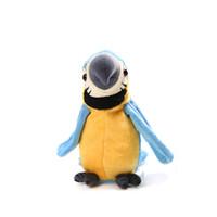 peluş papağanlar toptan satış-Papağan Elektrikli Peluş Bebek Dolu PP Pamuk Konuşan Konuşan Sallamak Kafa Salıncak Kanatları 120 Müzik Ses Kayıt Yaratıcı Hediye Komik Yumuşak Papağan