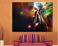 amerikanische indische malereien großhandel-HD Druck Leinwand Ölgemälde Indianer Wand Poster Für Wohnzimmer Indianer Feder Wohnkultur Poster Kunstwerke