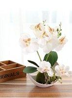 hochzeitstisch orchideen großhandel-Mode Neue Hochzeitsdekoration Künstliche Schmetterling Orchidee Bonsai Dekorative Gefälschte Blume mit Topf Ornamente Home Table Decor Großhandel