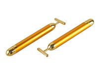 ingrosso vibratori d'oro-Buona qualità Energy Beauty Bar 24K Gold Pulse Rassodante Massager facciale Roller Massager Cura di bellezza Vibrazione Massaggio facciale elettrico