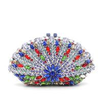 bolso azul con cuentas al por mayor-En forma de abanico bolsos de noche de cristal azul con cadena de plata de alta calidad de lujo con cuentas de diamantes de imitación de cristal embrague embragues de múltiples colores