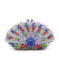 perlen blaue tasche großhandel-Fächerkrümelte blaue Kristallabend-Beutel mit silberner Ketten-hoher Qualität Luxusrhinestone-wulstige Kristallkupplungs-multi Farben-Kupplungen