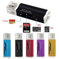 lector usb m2 al por mayor-Adaptador de lector de tarjeta de memoria Micro USB para Micro SD SDHC TF M2 MMC MS PRO DUO Lector de tarjeta con paquete