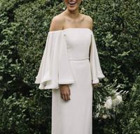 пляжные свадебные платья назад ruffle оптовых-2019 Boho Beach Свадебные платья Hippe Бато шею оборками с длинными рукавами платья невесты простой кантри спинки длиной до пола платья
