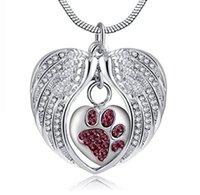 jóias anjos venda por atacado-Atacado colar de pingente de asas de anjo de aço inoxidável em forma de coração pegada cinzas de garrafa de perfume - caixa cremação funeral cinzas jóias.