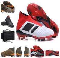 Wholesale Genuine Leather Boots Kids - 2018 KID Predator 18+ FG Football Boots Gold Blue Black Mens WOMEN High Ankle Soccer Cleats Outdoor Cheap Soccer Shoes