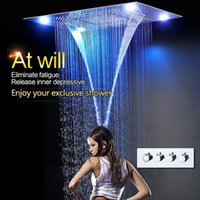 Wholesale led waterfall bath faucets - 600x800mm Large Rain Shower Set Waterfall Remote Control LED Recessed Ceiling Mount Multifunction Shower Head Bath & Shower Faucets
