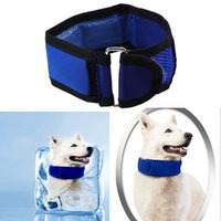 Wholesale cool basic - Cute Polka Dot Cooling Pet Dog Collars Summer Cool Neck Collar Blue Pet Necklace Outdoor Supplies GGA436 20pcs