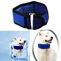 Wholesale cool pet collars - Cute Polka Dot Cooling Pet Dog Collars Summer Cool Neck Collar Blue Pet Necklace Outdoor Supplies GGA436 20pcs