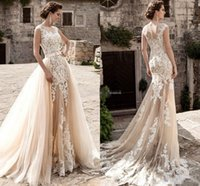 Wholesale Tulle Over Beads - 2018 Champagne Over Skirts Tulle Wedding Dresses A-Line See Through Vintage Lace Appliqued Sash Detachable Train Boho Bridal Wedding Gowns