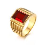 rote quadratische strasssteine großhandel-Ehering Edelstahl Quadrat Rot Strass Solitaire Ring für Männer Ehering Engagement US-Größe 7-11