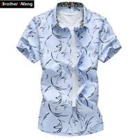Wholesale hawaii clothes - 2017 Summer New Large Size Men Shirt 6xl 7xl Male Casual Print Short Sleeve Shirt Hawaii Shirt Brand Men 'S Clothing