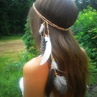 ingrosso fasce hippie-Boho Indian Feather Headband Copricapo Hair Rope Headwear Tribal Hippie Party Nuovo 2017