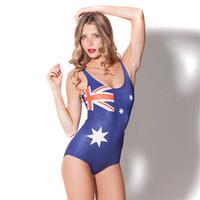 biquínis mulheres elásticas venda por atacado-Bandeira austrália Biquíni De Uma Peça Elástica Swimwear Senhora Sexy Esporte de Água Maiô Mulher Conjoined Triangulação Maiô 16wy W