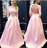Wholesale two piece evening dress online - Latest Two Pieces Evening Dresses Long Sleeve A Line Open Back Beaded Sequins Special Occasion Dresses Graceful Pink Prom Dresses