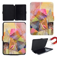 ingrosso pittura ad olio in pelle-per kindle paperwhite fire HDX7 new Flat cover Soft TPU PU leather painting Oil Painting Kickstand Slot per schede Holder Costruito in Magent / Magenti