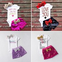 Wholesale Babys Girls - Vieeolove Ins Babys Kids 3Sets Clothes 2018 New Spring Autumn Long Sleeve Cartoon Floral Top Lace Romper +Shorts + Headband 3sets VL-257