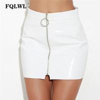 Wholesale sexy latex skirt - FQLWL Faux PVC PU Leather Sexy Mini Skirt Women Metal Circle Zipper Latex Pencil Skirt Jupe Cayon Bodycon Short Skirts Vadim