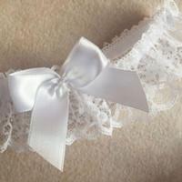 Wholesale One Garter - 3Pcs Sexy White One Size Lace Floral Leg Garter Belt Arm Bracelet Wedding Bridal Cosplay Bowknot Thigh High Stocking Leg Ring