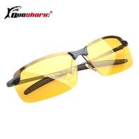 óculos de sol polarizados amarelos antiofuscantes venda por atacado-QUESHARK Ciclismo Profissional Polarizada Óculos de Visão Noturna Lente Amarela Anti-reflexo Bicicleta Óculos De Sol Caminhadas Óculos de Condução