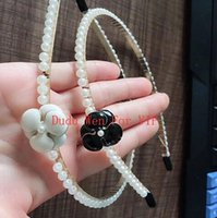Wholesale lady items - Collection item lady party gift for fashion lady classic pearls headhand camellia with fishion mark luxury hair hoop party present