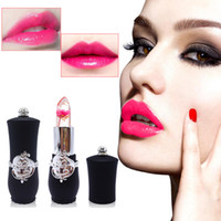 flower jelly lipstick оптовых-6 Styles Flower Crystal Jelly Lipstick Magic Temperature Change Color Lip Balm Makeup Non-stick Cup Длительная губная помада Бесплатная доставка