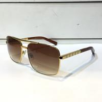 lüks erkekler gözlük toptan satış-Lüks Vintage Erkekler Açık Tutum Güneş Gözlüğü Clssic Metal Kare Tam Kare Uv 400 Koruma 0259 Gözlük En Kaliteli Paketi Ile