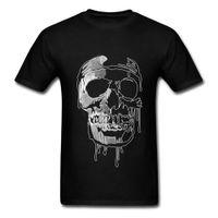 punkmetallt-shirts großhandel-Mens Herbst Schädel T Shirts 2018 Neueste Skizze T Shirt Druck Männer Awesome 3D Schädel T-Shirt Für Erwachsene Punk Death Metal T-Shirt