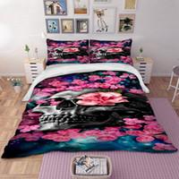 kırmızı çiçek nevresim takımı seti toptan satış-Wongs yatak HD 3d kafatası kırmızı çiçek Yatak Seti Nevresim Kraliçe Boyutları Ev Tekstili 3 adet Dropship toptan