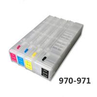 chips cartucho compatível venda por atacado-970 971 4 cores para hp970 971 Cartuchos de tinta recarregáveis Compatível com vazio para X451dn X551X476dn X576 sem chips