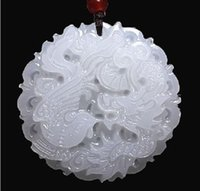 Wholesale Lighting Pendants Bamboo - Natural Afghanistan White jade Dragon and Phoenix pendant