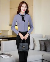 Wholesale Lady Blouses Piece - Two Piece Sets Women Business Suits with Pant and Blouses Sets Tops Ladies Grey Shirts with Tie Pantsuits