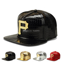 c3b3fa9c777 New style P Logo Golden PU Leather snapback baseball caps Diamond Crocodile  Grain men women DJ Rap Sports hip hop hats