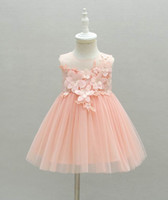 Wholesale baby first birthday clothing online - Retail Baby Girl First Birthday Dress Flowers Pink Tulle Princess Dress For Wedding Party Children Clothing Y E6112