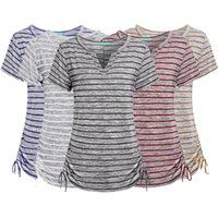 Wholesale black shirt blouse for sale - 5 Colors Women Girls Causal Stripe V neck Short Slevee Blouse T shirt Drawstring Striped Slim Tee Tops Home Clothing AAA693