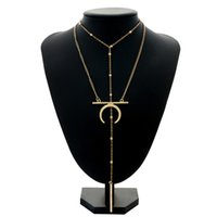 skelett schmuckstücke großhandel-Mehrschichtige Bead Moon Anhänger Halskette Temperament Horn Metall Schlüsselbein Halskette CX549