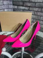 ingrosso scarpe alte in oxford-2018 Donne Moda Tacchi alti Lady Dress Shoes Luxury Brand Festival Partito Scarpe da sposa in pelle verniciata Business Formale pompe taglia 35-41