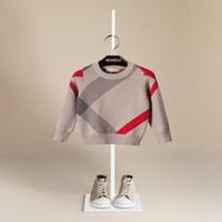 blusas de malha de lã de bebê venda por atacado-Venda quente Menino Camisola 2017 Outono Design Da Marca De Malha De Malha Pullover Cardigan Para O Bebê Meninas Crianças Roupas Infantis Top Infantil