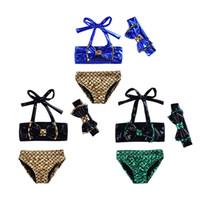 Wholesale Fish Bikinis - Baby swimsuits Mermaid kids swimwear 2018 new cartoon Bow fish scales children Bikinis 3pcs set C3756