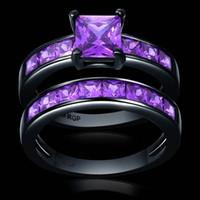 conjuntos de anéis roxos venda por atacado-Nobre roxo quadrado CZ Zircon casal Anéis Set preto Gold filled Wedding aliança Para As Mulheres