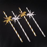 spezielles stroh großhandel-Einhorn kreativen Design Straw Pegasus Form spezielle Art Sauger für Bar Trinkflasche Dekoration Goldenen silbrige Farbe Strohhalme New 6RS Z