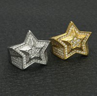 Wholesale mens diamond rings wholesale - luxury mens men rings jewelry wedding engagement hip hop bling micro pave cz Diamond star mens gold ring Gifts wholesale
